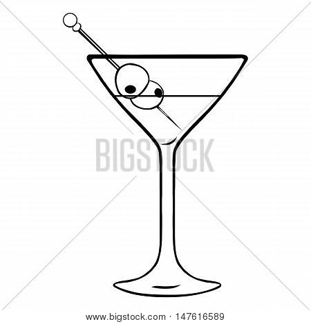 Vector Lineart Martini Glass With Olives