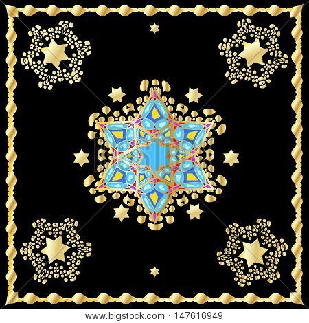 Star of David pattern. Gold stars on white background. Abstract Oriental background, vector illustration.