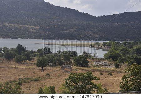 Santillana reservoir , located in Manzanares El Real, Madrid, Spain