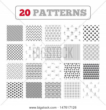 Ornament patterns, diagonal stripes and stars. Scissors icons. Hairdresser or barbershop symbol. Scissors cut hair. Cut dash dotted line. Tailor symbol. Geometric textures. Vector
