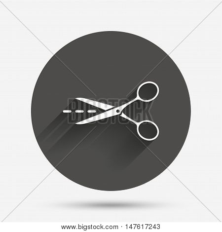 Scissors with cut dash dotted line sign icon. Tailor symbol. Circle flat button with shadow. Vector