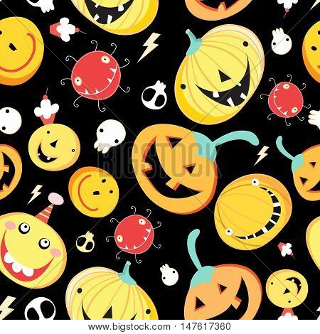 Seamless pattern with funny pumpkins for Halloween. Pumpkin Autumn Vector vintage background