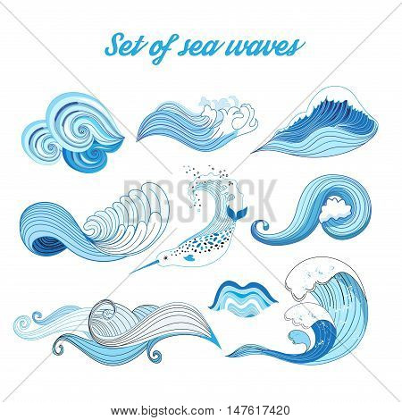 Set vector sea waves. Ocean waves isolated on white background