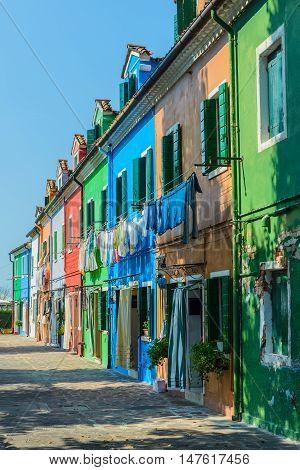 Building landmarks- colorful houses on Burano island, Italy