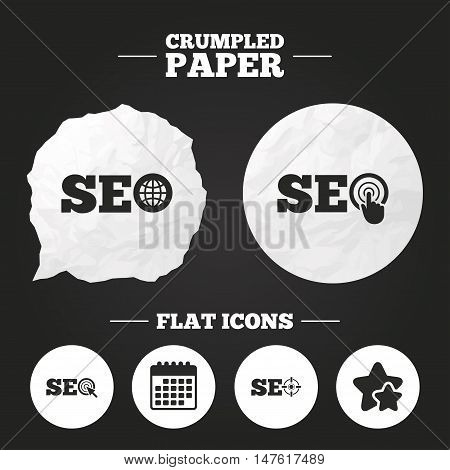 Crumpled paper speech bubble. SEO icons. Search Engine Optimization symbols. World globe and mouse or hand cursor pointer signs. Paper button. Vector