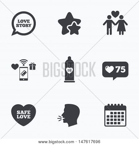 Condom safe sex icons. Lovers couple signs. Male love female. Speech bubble with heart. Flat talking head, calendar icons. Stars, like counter icons. Vector