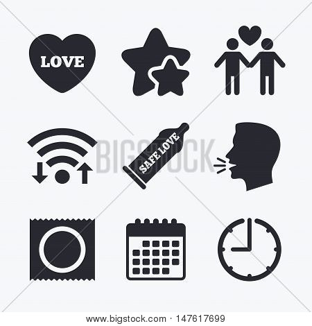 Condom safe sex icons. Lovers Gay couple signs. Male love male. Heart symbol. Wifi internet, favorite stars, calendar and clock. Talking head. Vector