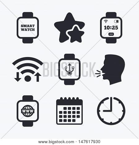 Smart watch icons. Wrist digital time watch symbols. USB data, Globe internet and wi-fi signs. Wifi internet, favorite stars, calendar and clock. Talking head. Vector