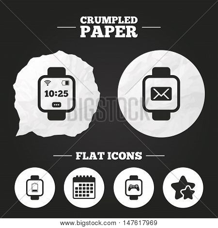 Crumpled paper speech bubble. Smart watch icons. Wrist digital time watch symbols. Mail, Game joystick and wi-fi signs. Paper button. Vector