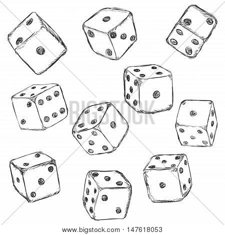 Vector Set of Sketch Dices on White Background