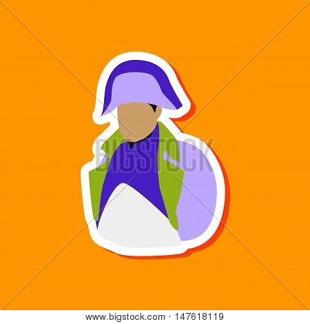 paper sticker on stylish background of Napoleon