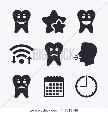 Tooth smile face icons. Happy, sad, cry signs. Happy smiley chat symbol. Sadness depression and crying signs. Wifi internet, favorite stars, calendar and clock. Talking head. Vector