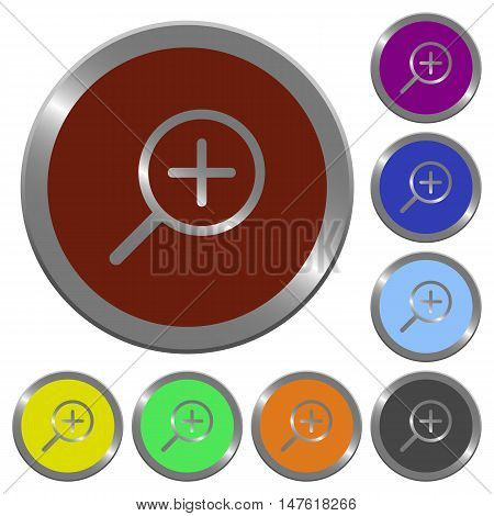 Set of color glossy coin-like zoom in buttons