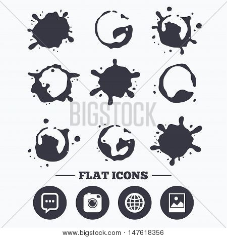 Paint, coffee or milk splash blots. Social media icons. Chat speech bubble and world globe symbols. Hipster photo camera sign. Landscape photo frame. Smudges splashes drops. Vector