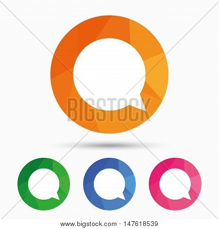 Chat sign icon. Speech bubble symbol. Communication chat bubbles. Triangular low poly button with flat icon. Vector