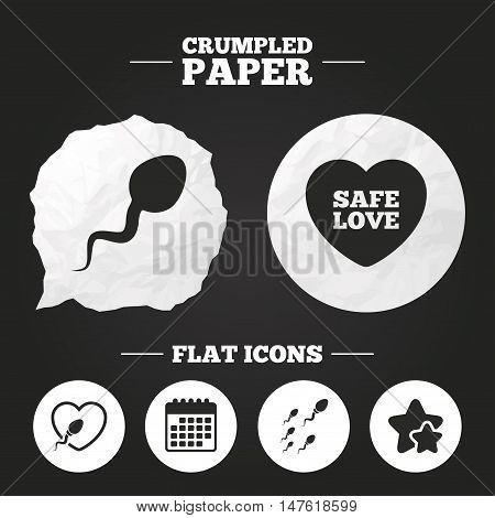 Crumpled paper speech bubble. Sperm icons. Fertilization or insemination signs. Safe love heart symbol. Paper button. Vector