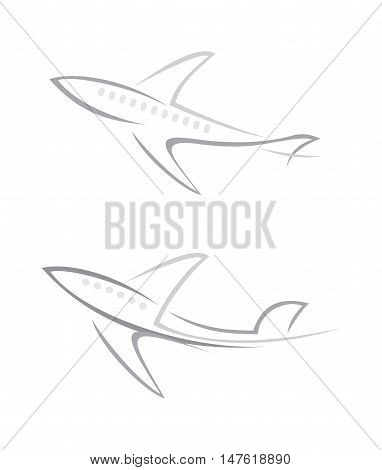 Flying airplane vector icons isolated on a white background. Can be used as the logo.