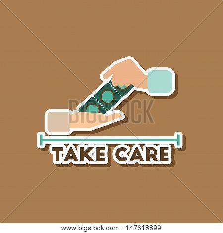 paper sticker on stylish background gays hand condoms