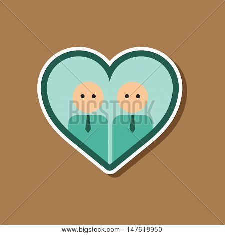 paper sticker on stylish background gay in the heart