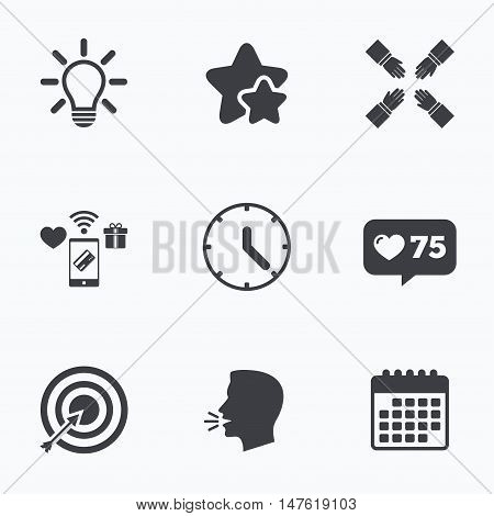 Lamp idea and clock time icons. Target aim sign. Darts board with arrow. Teamwork symbol. Flat talking head, calendar icons. Stars, like counter icons. Vector