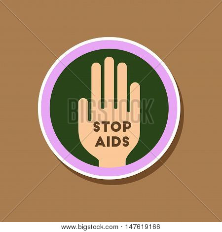 paper sticker on stylish background gays Stop AIDS symbol