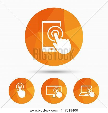 Touch screen smartphone icons. Hand pointer symbols. Notebook or Laptop pc sign. Triangular low poly buttons with shadow. Vector