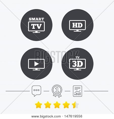Smart TV mode icon. Widescreen symbol. High-definition resolution. 3D Television sign. Chat, award medal and report linear icons. Star vote ranking. Vector
