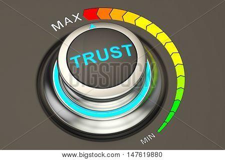 high level of trust concept knob. 3D rendering