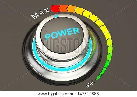 high level power concept knob. 3D rendering