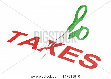 taxes concept cutting taxes. 3D rendering isolated on white background