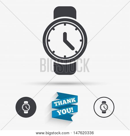Wrist Watch sign icon. Mechanical clock symbol. Men hand watch. Flat icons. Buttons with icons. Thank you ribbon. Vector