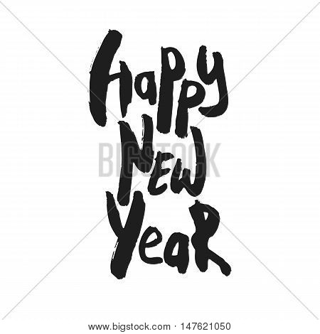 Decorative Greeting Card with handdrawn lettering. Modern ink calligraphy. Handwritten black phrase Happy New Year isolated on white background. Trendy vector design element for decor and posters