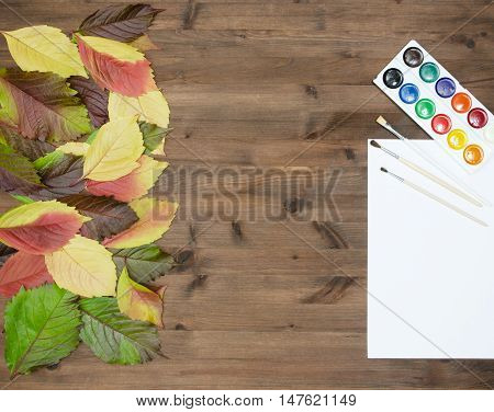 wild grapes multicolored autumn leaves watercolor paints and brushes on wooden background