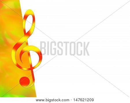 Red-and-yellow treble clef on color and white backgrounds
