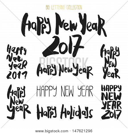 Set of 8 decorative handdrawn lettering. Modern ink calligraphy. Handwritten black phrases Happy New Year isolated on white background. Trendy vector design elements for decor, cards and posters