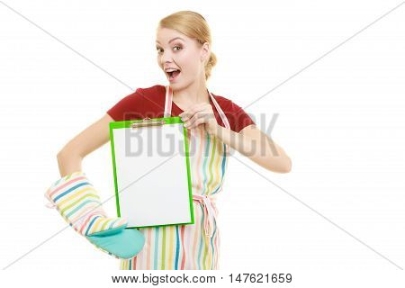 housewife in kitchen apron or small business owner shop assistant with empty blank banner sign for restaurant menu or recipe. Girl holding clipboard with copy space for text. Isolated on white