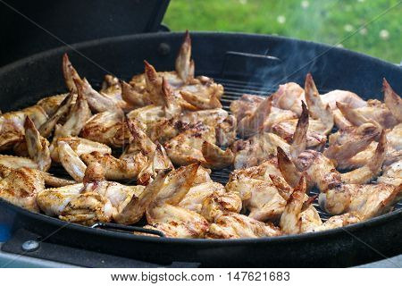 Chicken wings on barbecue grill. Dinner. Meat.