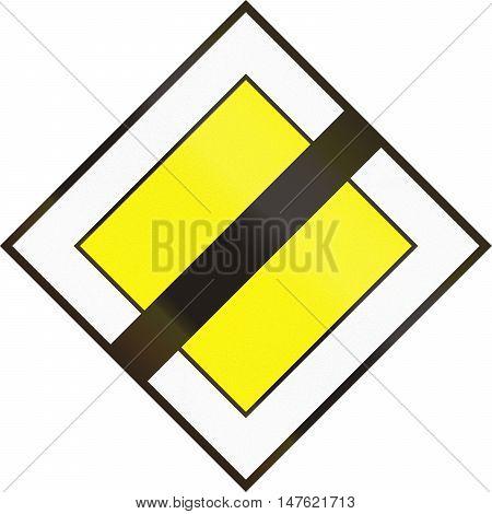 Hungarian Regulatory Road Sign - End Of Priority Road