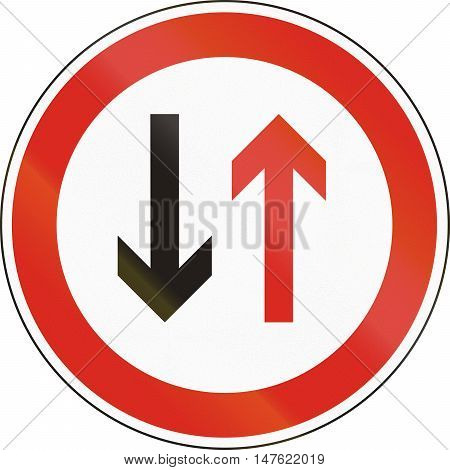 Hungarian Regulatory Road Sign - Give Way To Oncoming Traffic