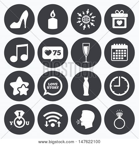 Calendar, wifi and clock symbols. Like counter, stars symbols. Wedding, engagement icons. Ring with diamond, gift box and music signs. Dress, shoes and champagne glass symbols. Talking head, go to web symbols. Vector