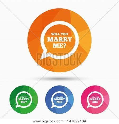 Will you marry me speech bubble sign icon. Engagement symbol. Triangular low poly button with flat icon. Vector