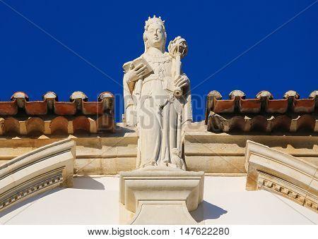 Statue Representing Wisdom At Coimbra University, Portugal