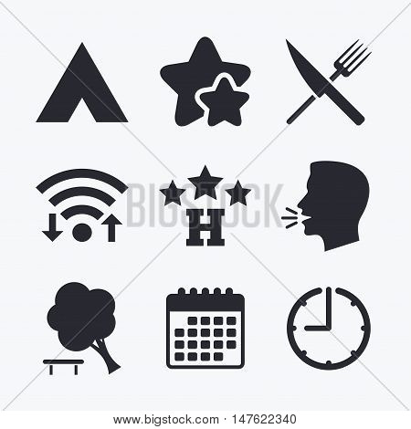 Food, hotel, camping tent and tree icons. Knife and fork. Break down tree. Road signs. Wifi internet, favorite stars, calendar and clock. Talking head. Vector