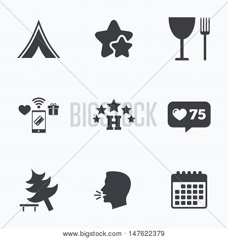 Food, hotel, camping tent and tree icons. Wineglass and fork. Break down tree. Road signs. Flat talking head, calendar icons. Stars, like counter icons. Vector