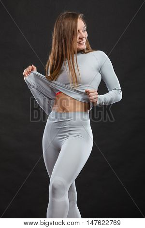 Sport Fit Woman In Thermal Clothes.