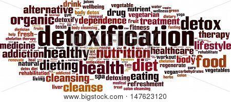 Detoxification word cloud concept. Vector illustration on white