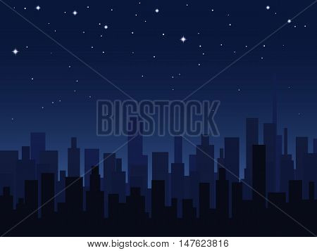 Night city silhouettes over starry sky vector illustration