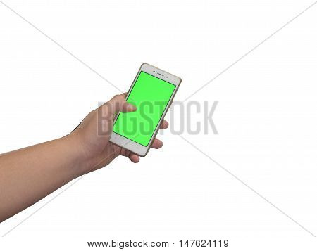 Closeup shot of a woman typing on mobile phone isolated on white background.. Girl's hand holding a modern smartphone and pointing with figer. Blank screen to put it on your own webpage or message.