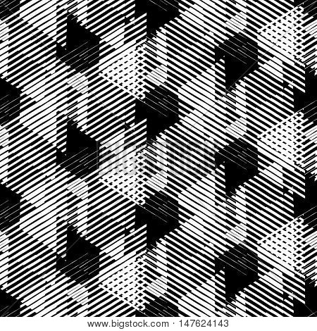 Vector geometric seamless pattern with lines and overlapping triangles in black and white. Striped modern bold print in 1980s style for summer fall fashion. Abstract dynamic techno chevron background