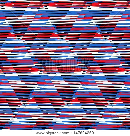 Vector seamless geometric pattern with striped triangles, abstract diagonal shapes in bright blue red color. Hand drawn background with overlap lines in 1980s fashion style. Modern funky textile print